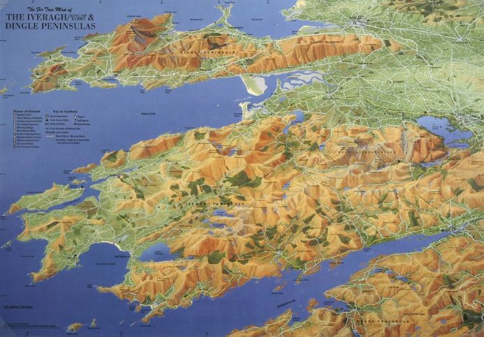 Aerial Map of The Iveragh (Ring of Kerry) & Dingle Peninsula - Flat